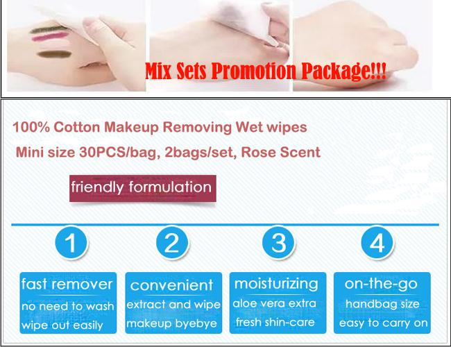 Rose Scent Makeup Remover Wipes Cotton Material Mini Size For Makeup Removing