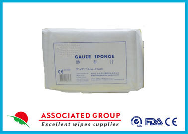 Absorbent 4PLY Non Woven Gauze Swabs For First Aid Medical Care , 7.5*7.5cm